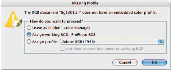 Missing Profile dialog box.