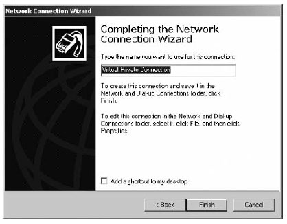 Network Connection Wizard window