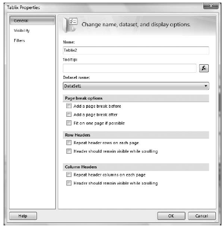 New look for the Properties dialog boxes in Report Designer