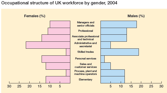 Occupational structure of UK workforce by gender