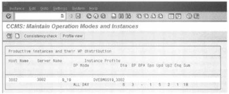 Operation modes and work process distribution in a SAP R/3 system