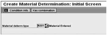 Overview screen for maintaining a material determination record