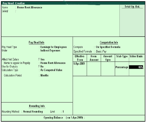 Pay Head Creation - Value Basis screen
