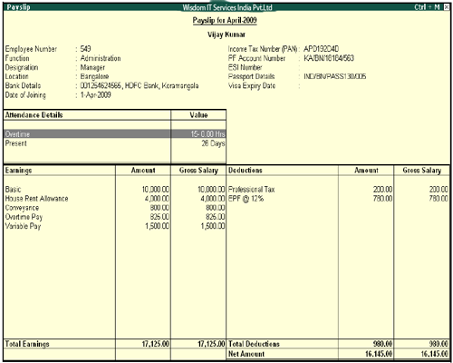 Payroll Reports in Tally Tutorial 09 September 2019