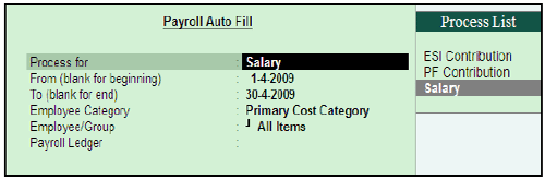 payroll voucher in Tally Tutorial 12 September 2019