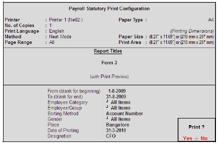 Payroll Statutory Print Configuration for ESI Form 3