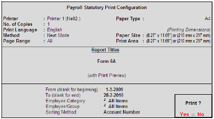 Payroll Statutory Print Configuration for PF Form 6A
