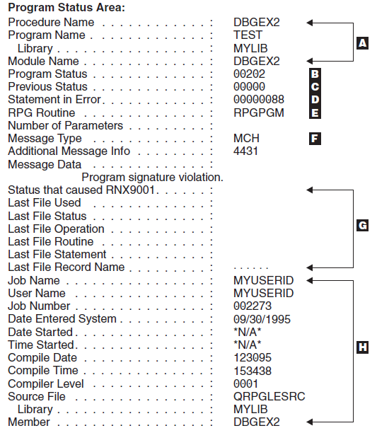 Example of a Formatted Dump in IBM - RPG Tutorial pdf 30