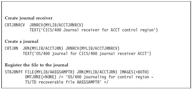 Registering a recoverable file to an OS/400 journal