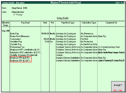 Salary Details setup in Tally Tutorial pdf 12 August 2019 - Salary