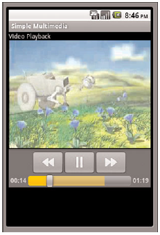 Screen showing video playback with default media controller displayed.