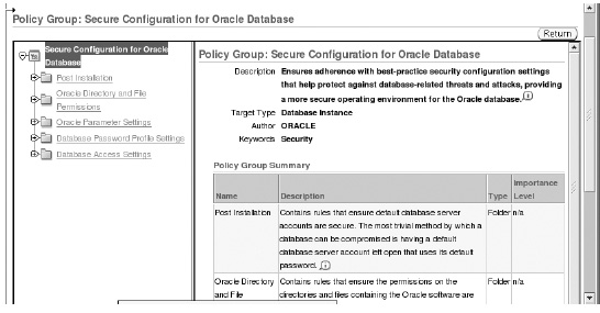 Secure Configuration for Oracle Database page