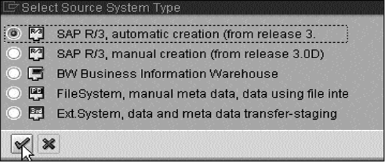 Select source system type