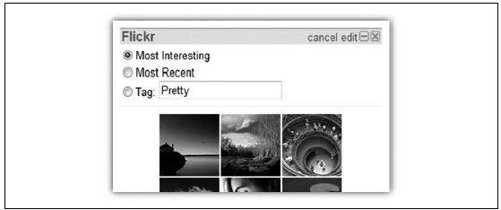 Settings contain options to customize a widget, such as different types of photo streams from Flickr