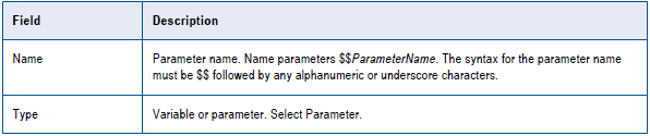 Step 1.Create a Mapping Parameter