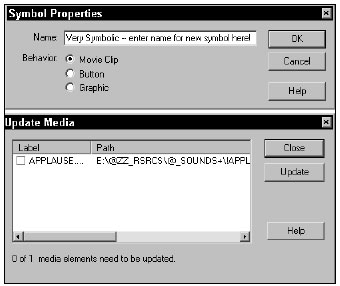 Symbol Properties dialog (top), and the Update Media dialog (bottom)
