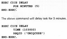 syntax of the DELAY command