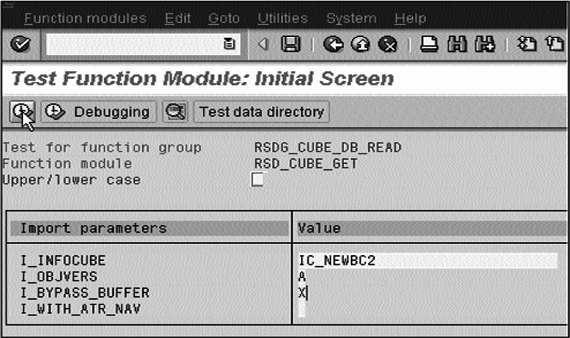 Test Function Module: Initial screen