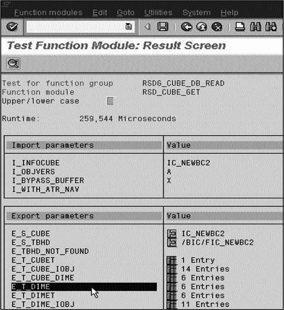 Test Function Module: Result screen