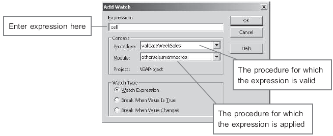 The Add Watch window