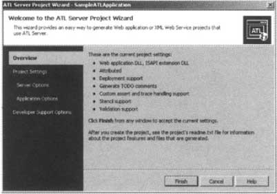 The ATL Server Project Wizard