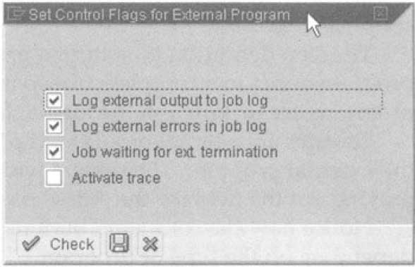 The Control Flag display for external programs