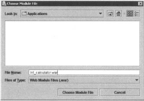 The Dialog Box to Specify the WAR File