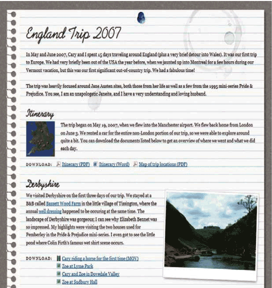 The final page with unique styling on the links and images, thanks to CSS3 attribute selectors.