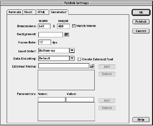 The Generator Template format settings in the Publish Settings dialog.