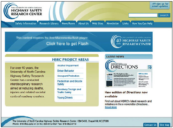 The home page for the Highway Safety Research Center