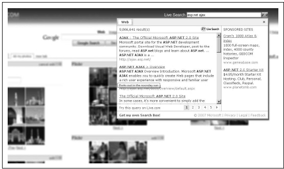 The Live.com search bar provides on-site search functionality