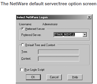 The Netware default server/tree option screen