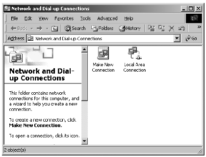 The Network and Dialup Conncetion