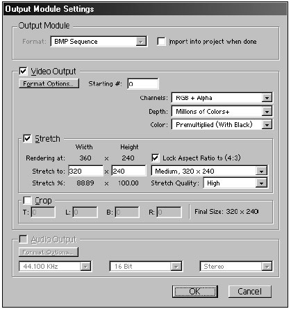 The Output Module Settings control the file format, video, stretch, and audio characteristics for a queued composition.