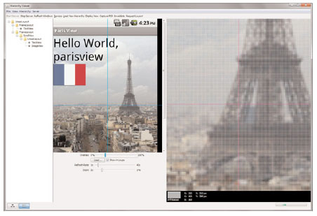 The ParisView application, shown in the Hierarchy Viewer tool (Pixel Perfect View)