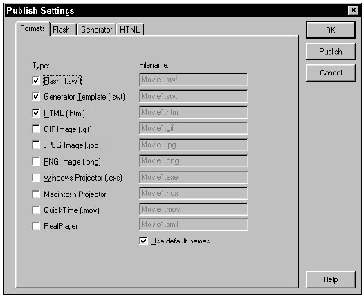 The Publish Settings dialog, with the Generator format enabled