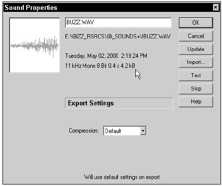 The Sound Properties dialog enables you to control the compression settings and to precisely balance all other related settings for each individual sound in the Library.