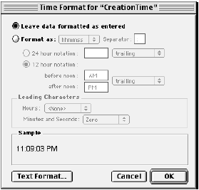 Time Format dialog for CreationTime from Company.fp5