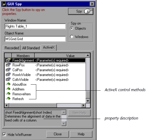To view the properties of an ActiveX or a Visual Basic control