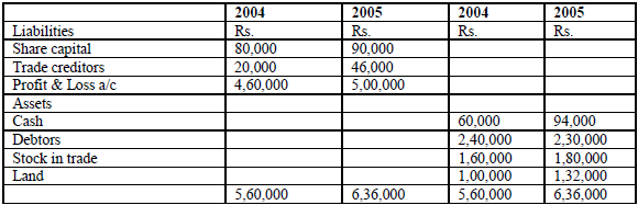 two balance sheet as at December 31, 2004 and 2005