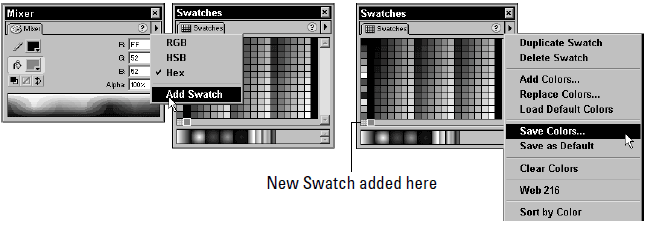 Use the Mixer and Swatches Panels to add a new color Swatch and then save the new color(s) to the current color set.