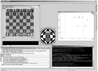 Various windows of the Blitz interface to the Internet Chess Club