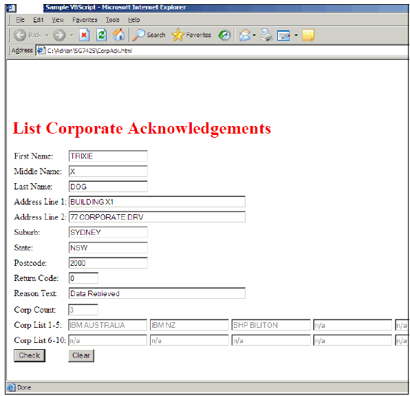 VBScript Corporate Acknowledgement Query