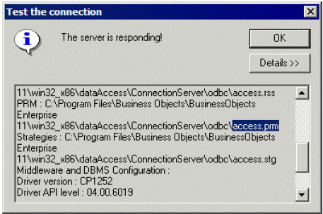 Verifying which PRM file is used by a connection