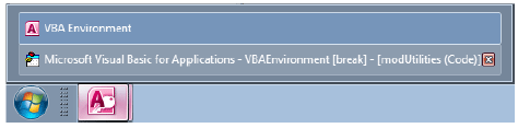With the VBA editor open, you have two windows for Access,