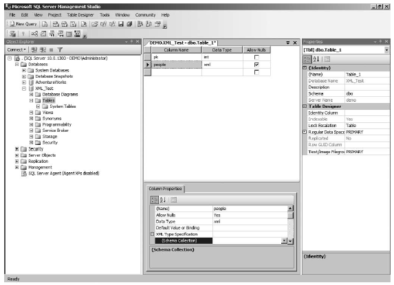 Working with the XML datatype in Management Studio