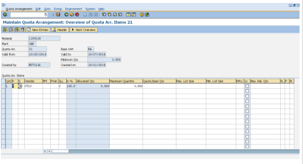 SAP MM - Quota Arrangement