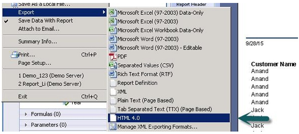 Crystal Reports Data Export To HTML in SAP Crystal Reports