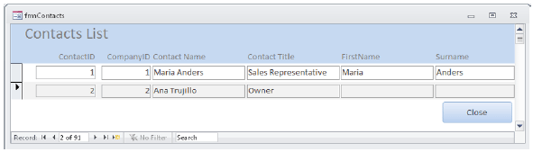 Using VBA code, the contact's full name, which is contained in the Contact Name field,