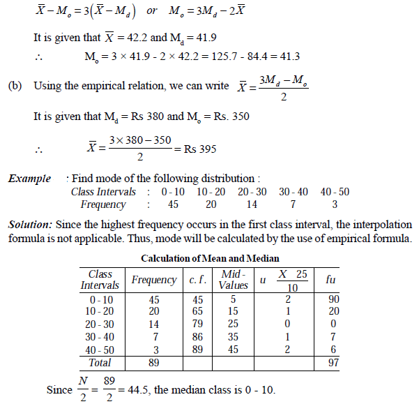 Worksheets Formula Of Statistics Mean Mode Median relation between mean median and mode quantitative techniques a here will be determined by the use of empirical formula